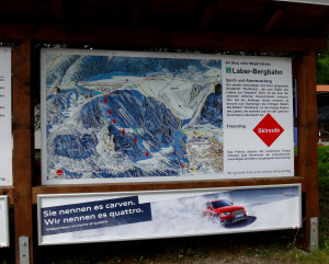 Sign showing what we could see from the top of the mountain in winter.