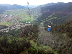 Here was pass another gondola as we head down the mountain.