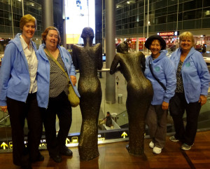 Euronuts' arrival at Copenhagen Airport: Tracy, Maureen, Rachel, Barbara