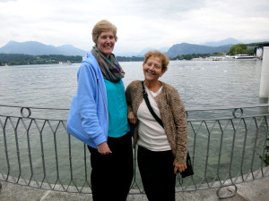 We waited our turn to take photos of each other in front of the lake. Here are Tracy and Rachel in Lucerne, Switzerland