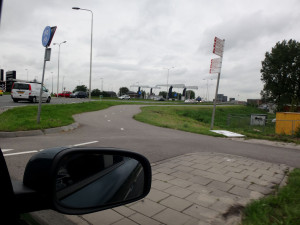 This is where we entered the highway to Rotterdam. See those cloudy skies? Reminds me of Cleveland. Cargo ships between Cleveland, Ohio and Rotterdam can make the trip in just under 11 days.