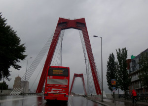Here's a bridge we took insidethe city. Loved the burst of red in the dreary rain.