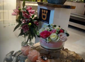 The fresh flower shop was smartly located on one of the floors between lower levels leading to the parking garage