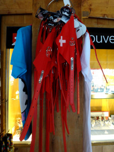 Dog leashes feature little Swiss flags.