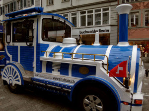 You can easily walk around Lucerne on foot, but if you feel like riding, the ubiquitous little tourist trains wind through the streets with frequent stops.