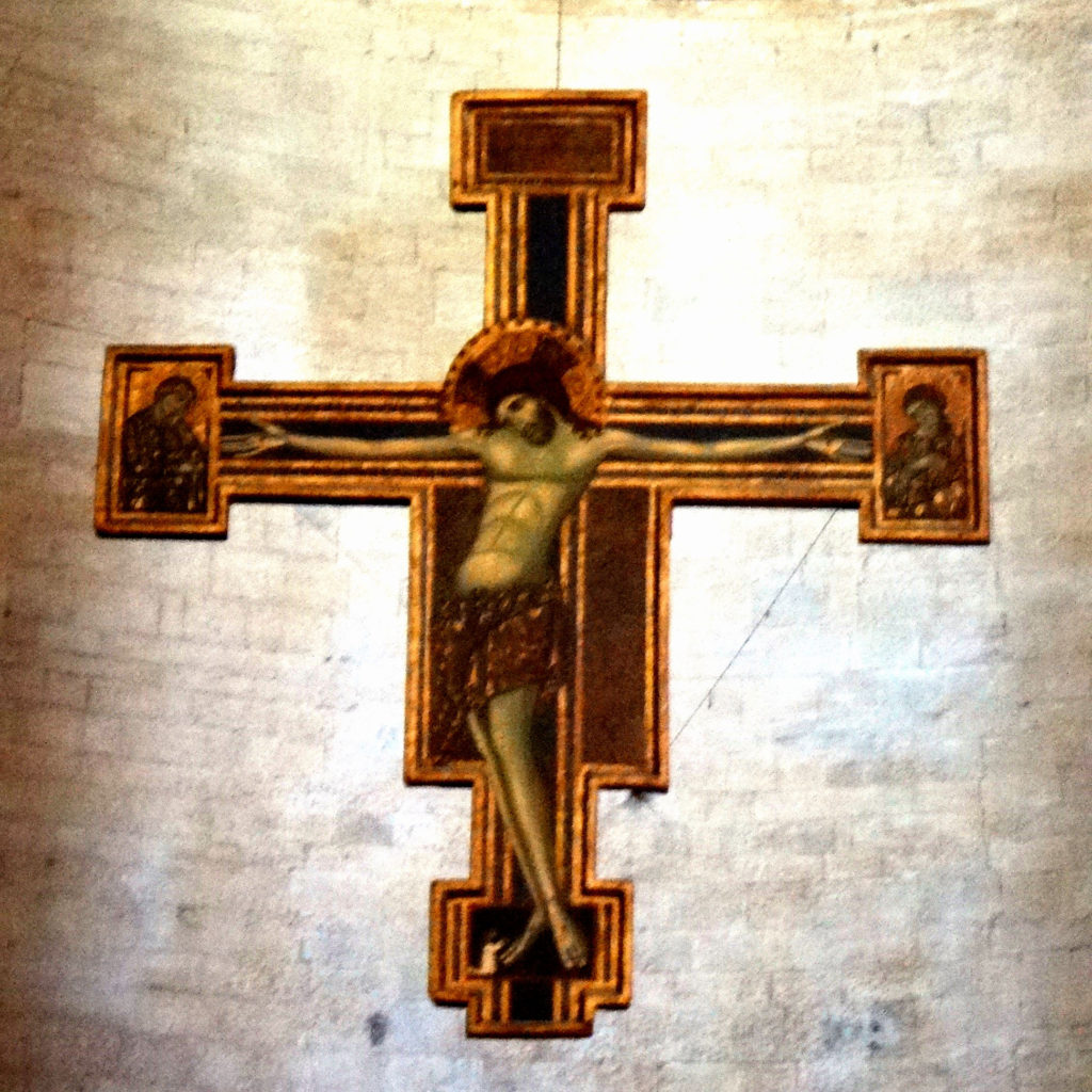 13th Century crucifix in the Cathedral S. Maria dell'Annunziata. Todi, Italy 2016.