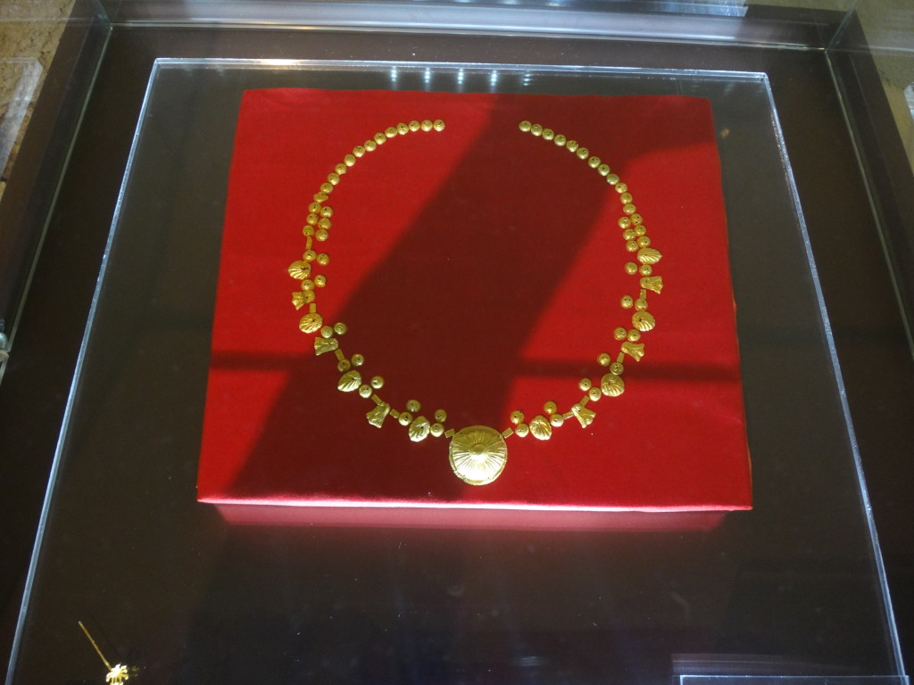 This collar of gold was owned by an Etruscan in 200 BC and found in another tomb.