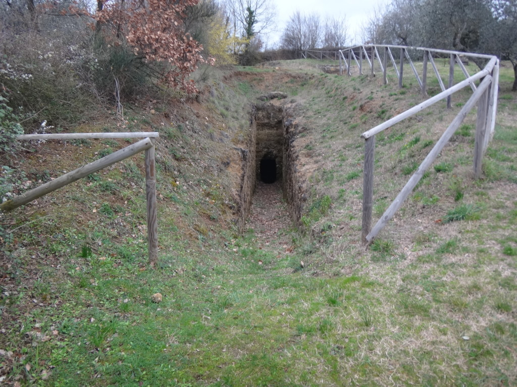 One of several entrances to Etruscan tombs on a gentle hillside outside Sarteano. The tombs were robbed long ago by tomb raiders. Museo Civico Archeologico di Sarteano