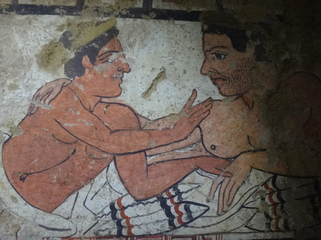Two reclining male figures on a kline (a banquet reclincer). Perhaps a father and son reuniting in the afterlife? Museo Civico Archeologico di Sarteano