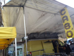 See how the awnings fold into the trucks at the Marsciano Market?