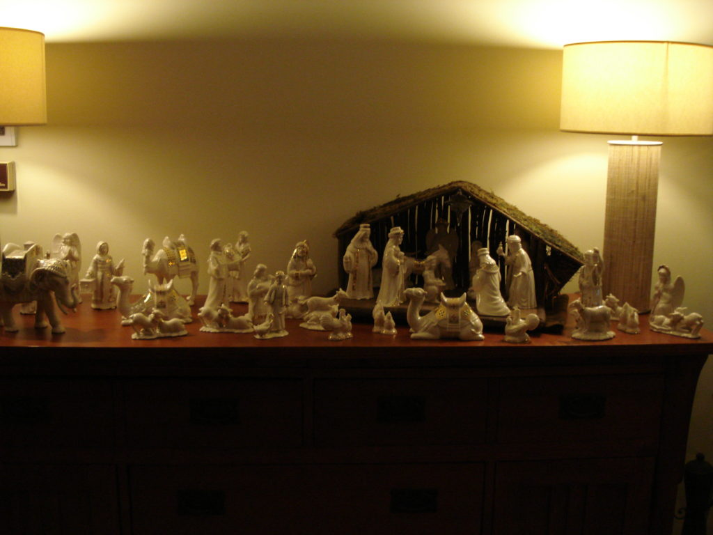 My sister gave me the large elephant on the far left for my 50th birthday. Christmas creche, 2011