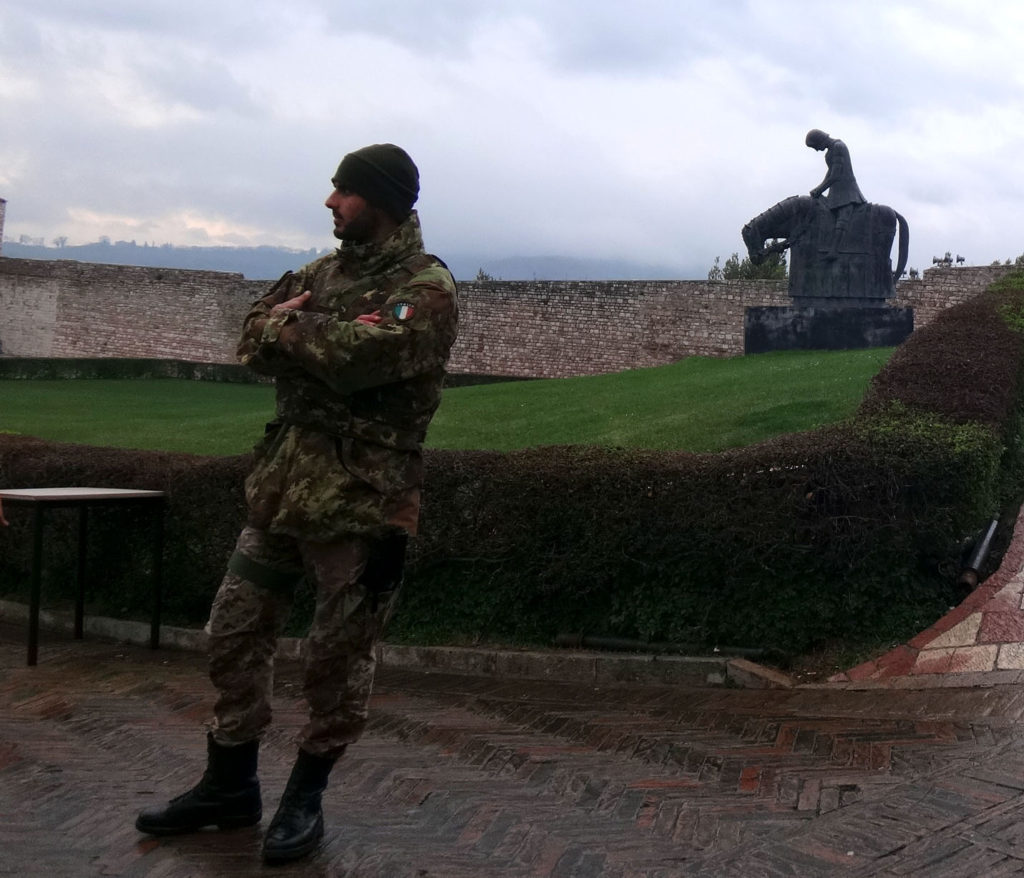 Italian soldier in front of Francis, returning from war before he was a monk. Assissi, Italy 2016