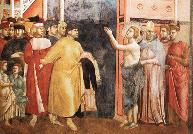 Giotto, Renunciation of Wordly Goods Basilica of St. Francis of Assisi, Upper Church Photo via: Wikimedia Commons