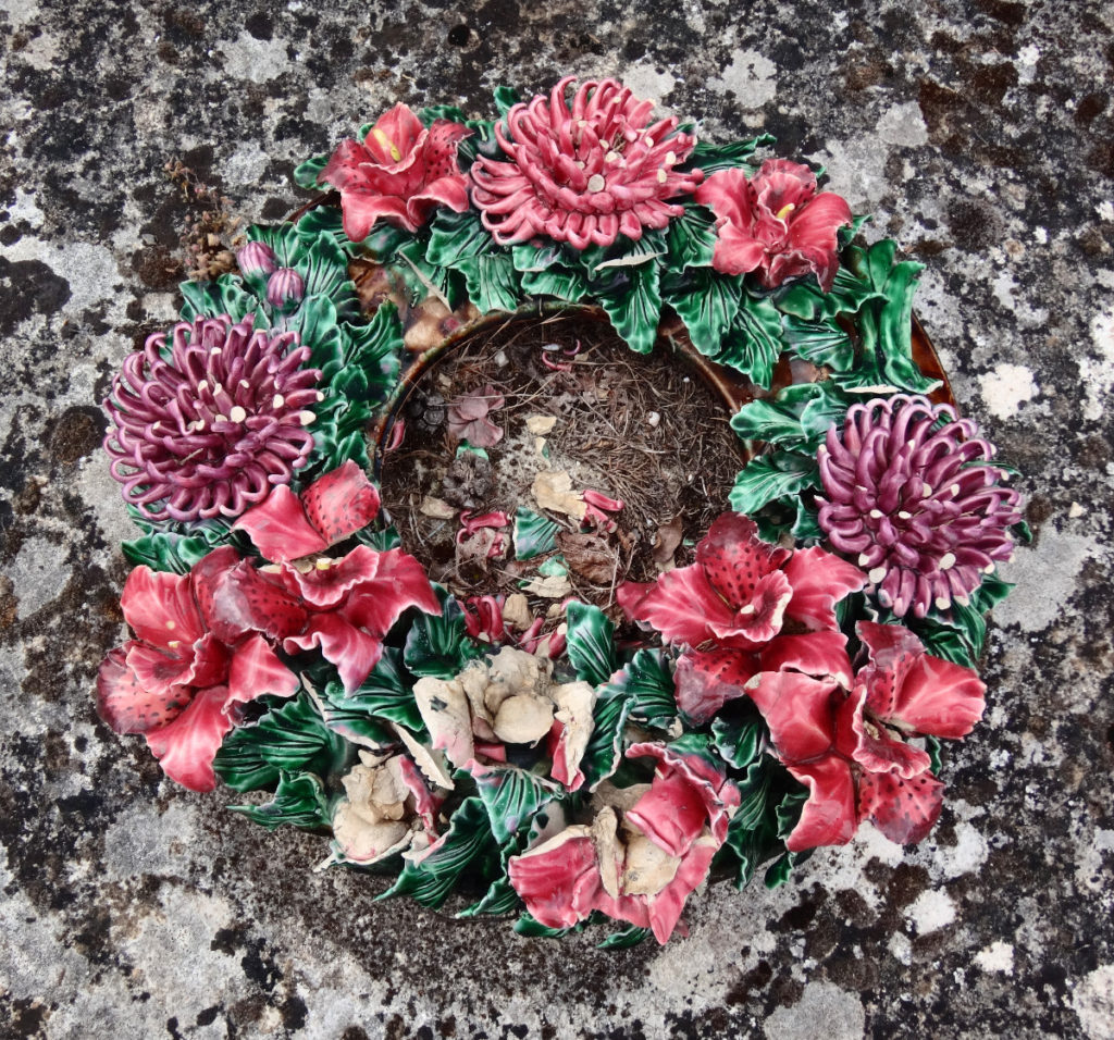 Gordes, France ceramic cemetery wreath.