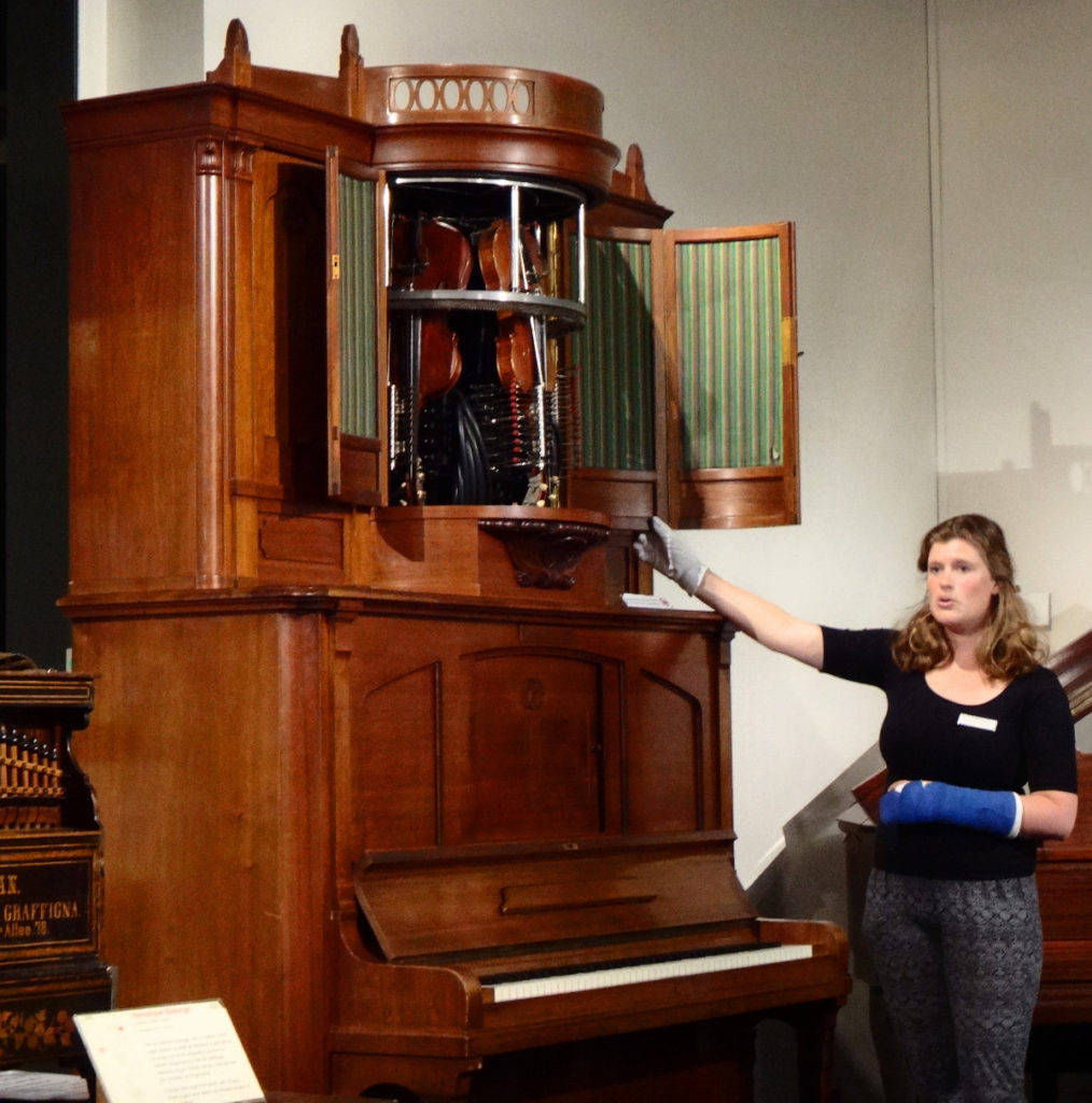 This machine was a highlight of a world's fair in the mid-1800's. It played the visible piano and violins with drums buried deep in the casing. Visitors actually thought children might be inside the box playing the instrument.