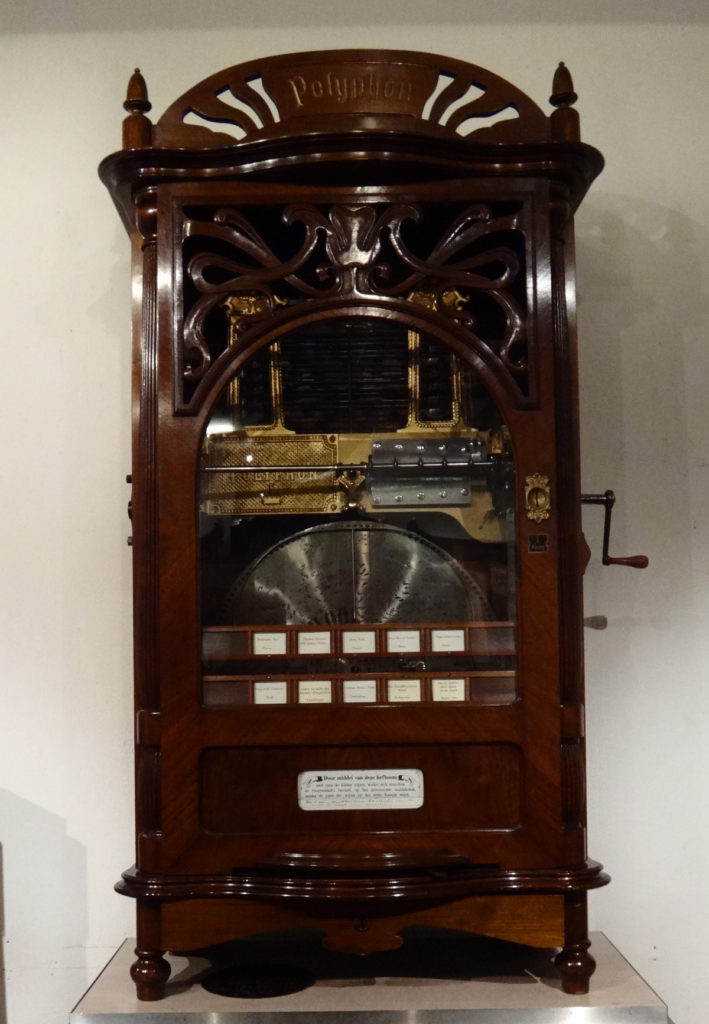 This is actually a juke box and plays a selection of several songs which the operator can choose.