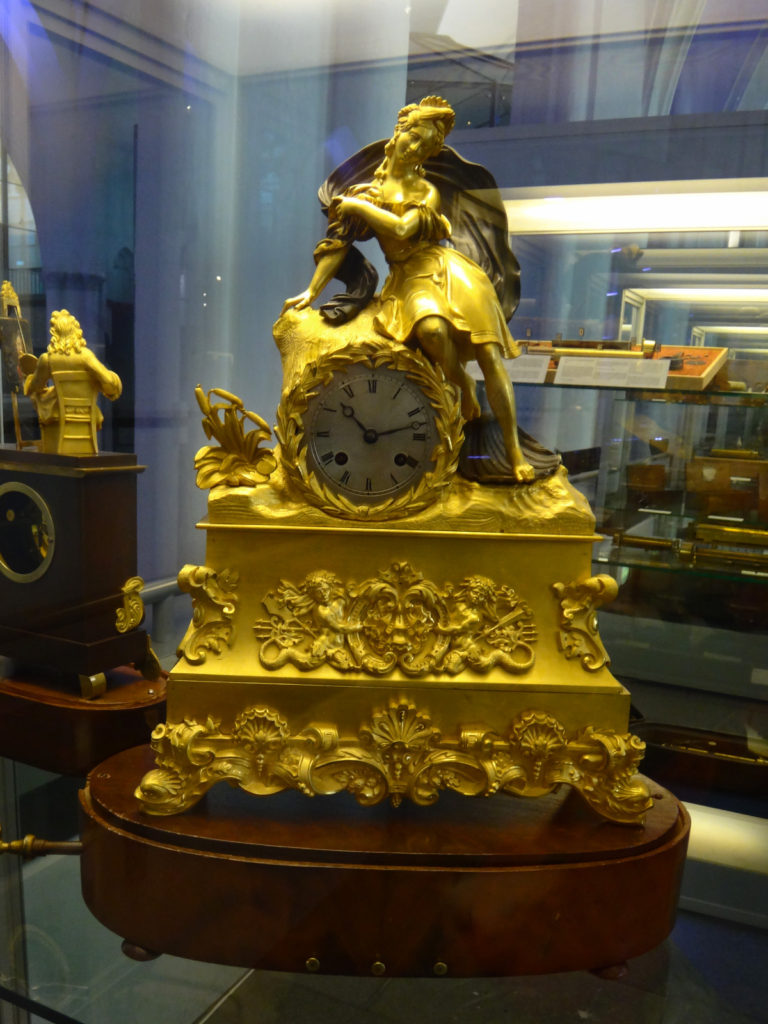 This heavily gilded clock is a typical music box in the museum.