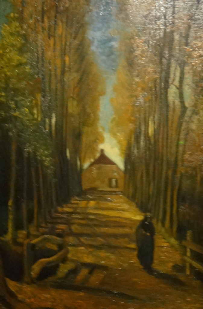 "Van Gogh's Avenue of Poplars in Autumn, 1884. The museum says van Gogh was an admirer of seasonal landscape motifs and was influenced by both Western art and Japanese prints. ""Every year the arrival of autumn excited him and led to beautiful and slightly melancholic works."" This landscape was painted near Neunen."