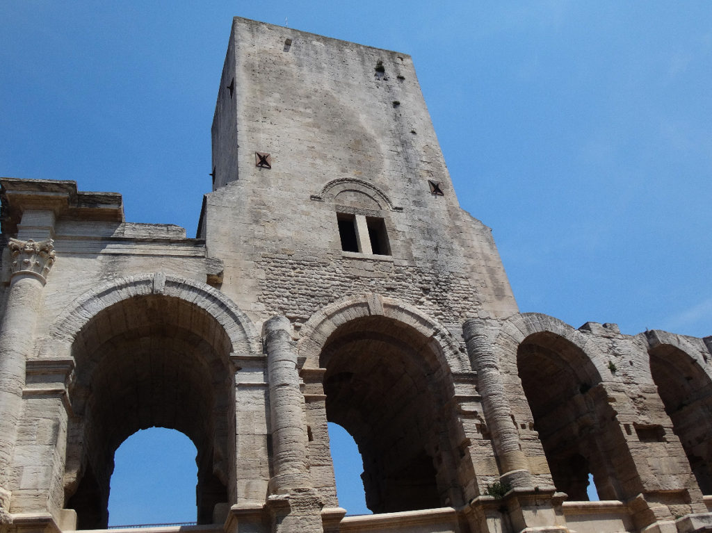 This coliseum still has it's third story placard in place, rare for a Roman ruin. Arles, France