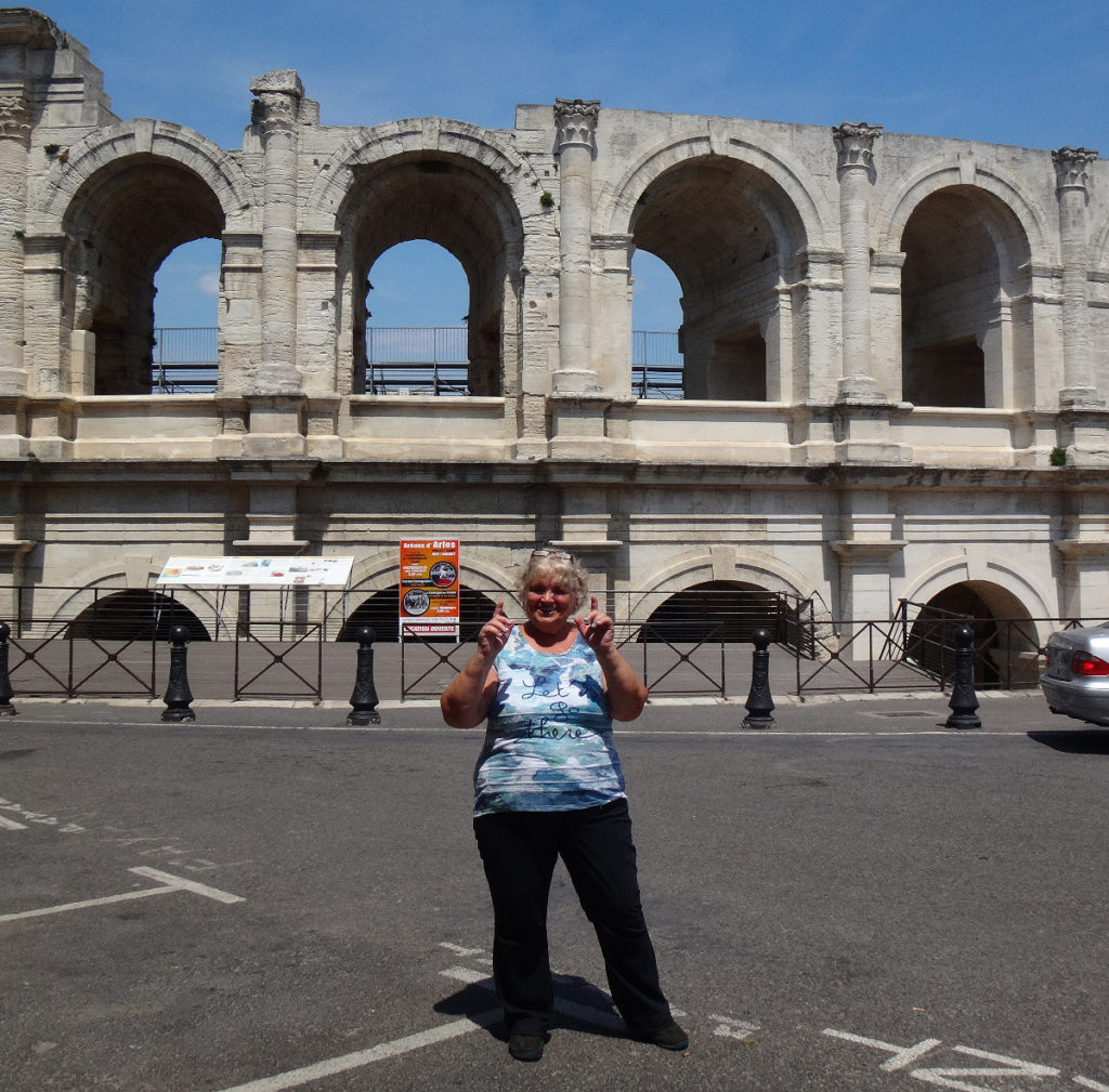 Hard to turn my back on this view of the Roman coliseum! Arles, France