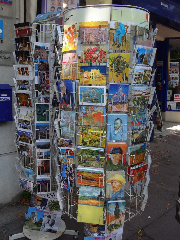 Stores throughout Arles sell everything from bobble heads to postcards in honor of their favorite visitor, van Gogh. Arles, France