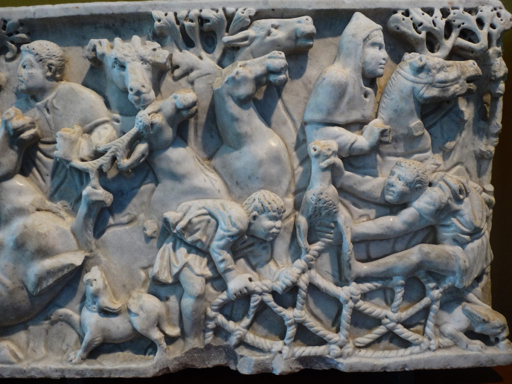 Here's a close-up of the detailed carvings on a sarcophagus. Musée de l'Arles et de la Provence Antiques.