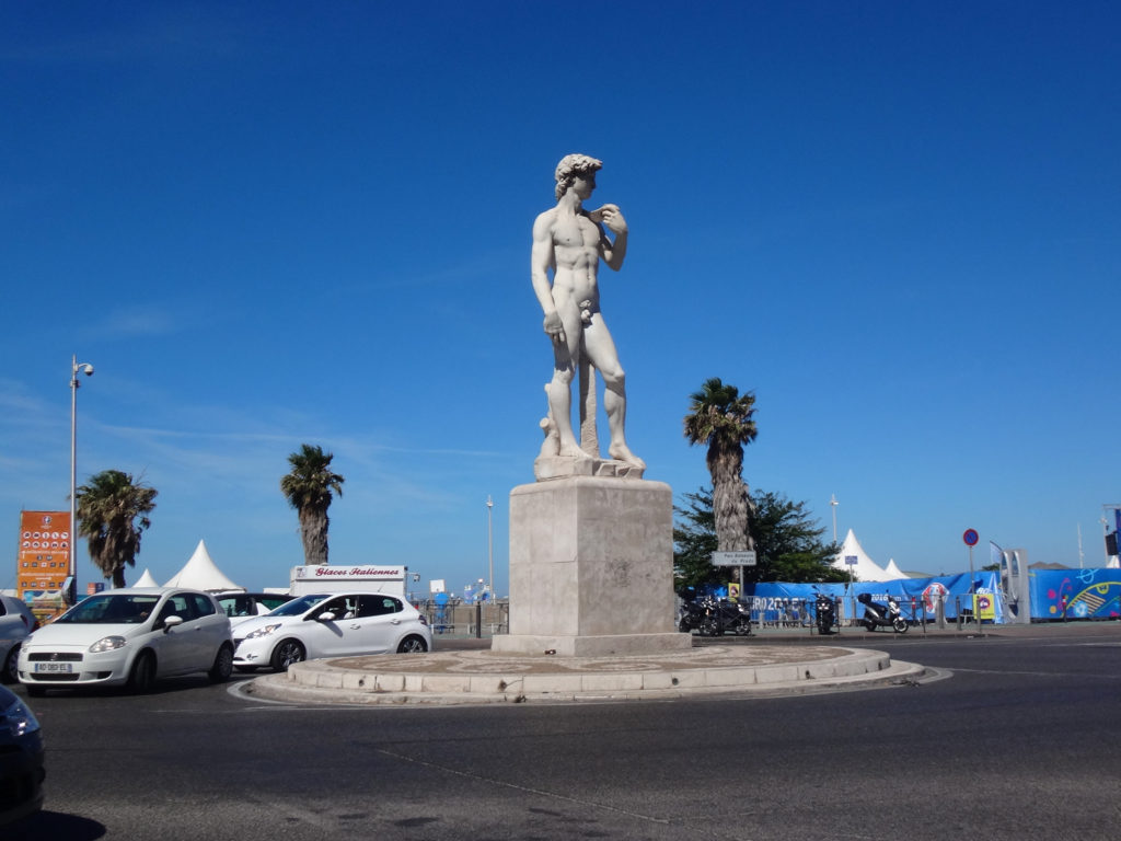David in the center of a traffi circle. Marseille, France
