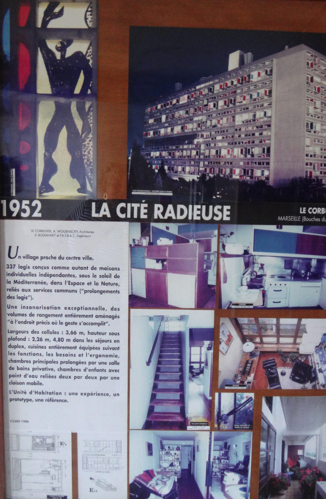 Information about the history of Unite d'Habitation Le Corbusier. Marseille, France