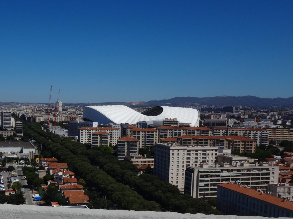The football stadium. The Europe Cup game was not held here but the stadium is loved by soccer fans. Marseille, France