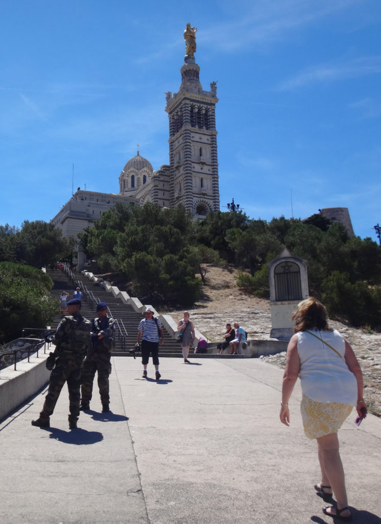 We climbed ALL of those stairs in high heat under a blazing sun. Basilique Notre-Dame de la Garde in Marseille, France